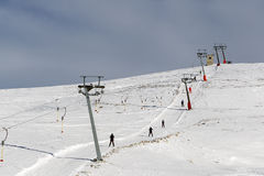 Landscape of a snow covered ski center snow-covered Royalty Free Stock Images