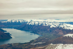 Landscape snow mountain from plane window of queentown south isl Stock Image