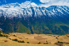 Landscape Snow Mountains Nature Viewpoint.Mountain Trekking Landscapes Background. Nobody photo.Asia Travel Horizontal Stock Photography