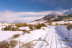 Landscape with snow in Navarra mountains. This white landscape,show us the railroad from Madrid to Irun,and is tipic view from the Navarra montain in winter Stock Images