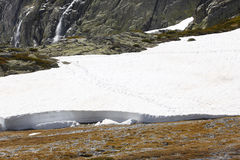 Landscape with snow, waterfalls and wetland Royalty Free Stock Photos