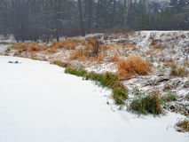 Landscape. Snowfall on the bank of the lake. Royalty Free Stock Images