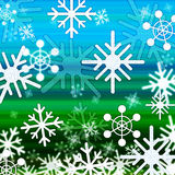 Landscape Snowflakes Background Shows Winter December And Cold Stock Images