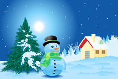 Landscape with snowman Royalty Free Stock Photos