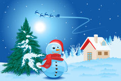 Landscape with snowman Stock Images