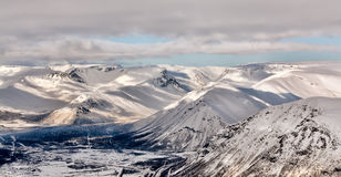 Landscape Snowy Mountain Valley Stock Image