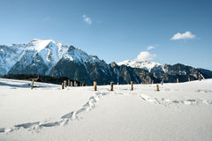 Landscape of snowy mountains Stock Photography