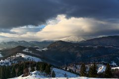 Landscape with snowy mountains Royalty Free Stock Image