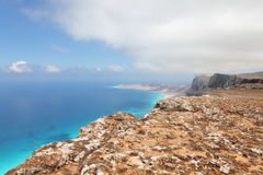 Landscape of Socotra island, Yemen. Seascape from mountain plateau of Socotra island, Yemen Royalty Free Stock Images
