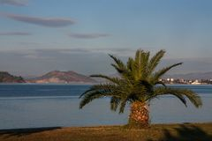 Landscape at a soft morning sun on the Aegean Sea. Turkey royalty free stock images