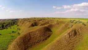 Landscape with soil erosion along the danube floodplain stock footage