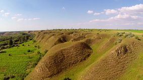 Landscape with soil erosion along the danube floodplain stock video
