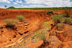 Landscape with Soil Erosion, Kenya Stock Photo