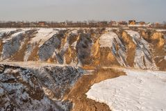 Landscape with soil erosion in Ukraine Royalty Free Stock Image