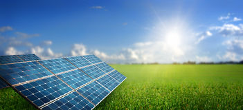 Landscape with solar panel. Green landscape with solar panel Stock Photo