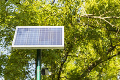 Landscape of solar panels located in a park Stock Images
