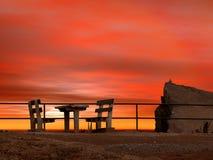landscape solnedgången Arkivbild