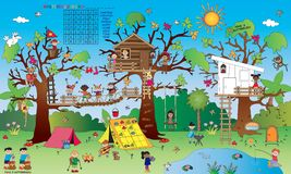 Game for children. Landscape with some small children`s games: crossword, find the differences, find the butterfly, sudoku; painting and join the dots Royalty Free Stock Image