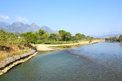 Landscape by the Song River at Vang Vieng. Laos Stock Photo