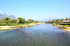 Landscape by the Song River at Vang Vieng. Laos stock photography