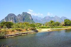 Landscape by the Song River at Vang Vieng. Laos Royalty Free Stock Photos