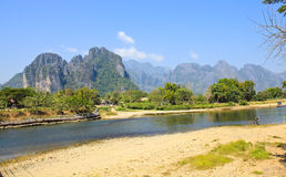 Landscape by the Song River at Vang Vieng. Laos royalty free stock photo