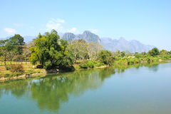 Landscape by the Song River at Vang Vieng. Laos Stock Images