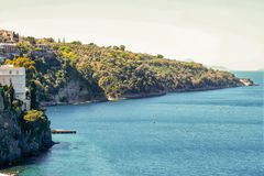 Landscape of Sorrento and its peninsula and gulf. Naples, Italy Royalty Free Stock Photo
