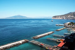Landscape of Sorrento and its shore and port. Naples, italy Royalty Free Stock Photos