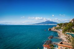 Landscape Sorrento peninsula, with background volcano Vesuvius. Italy Royalty Free Stock Photography