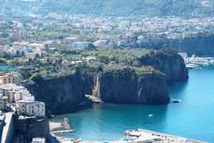 Landscape of Sorrento`s peninsula. And gulf, Naples, Italy Stock Image