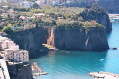 Landscape of Sorrento`s peninsula. And gulf, Naples, Italy Royalty Free Stock Images