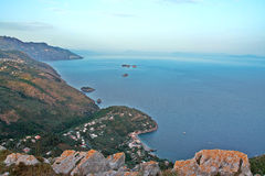 Landscape of Sorrento`s peninsula. And gulf, Naples, Italy Stock Photo