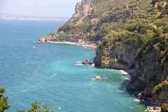 Landscape of Sorrento`s peninsula. As seen from Vico Equense, Naples province, Italy Stock Images