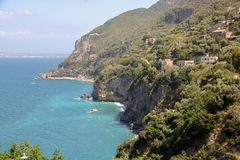 Landscape of Sorrento`s peninsula. As seen from Vico Equense, Naples province, Italy Stock Photography