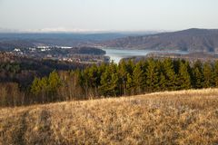 Landscape from sounthern Poland - Famous Solina. Landscape from sounthern Poland near Sanok Town. The view during the winter time . Famous Solina royalty free stock photos