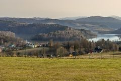 Landscape from sounthern Poland - Famous Solina. Landscape from sounthern Poland near Sanok Town. The view during the winter time . Famous Solina royalty free stock image