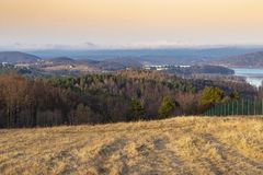 Landscape from sounthern Poland - Famous Solina. Landscape from sounthern Poland near Sanok Town. The view during the winter time . Famous Solina royalty free stock photo