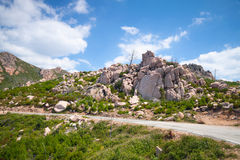 Landscape of South Corsica with mountain road Royalty Free Stock Photos