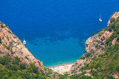 Landscape of South Corsica. Small wild beach Royalty Free Stock Photo
