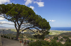 Landscape of Southern Italy, Calabria, Gerace. Sea view from the old town of Gerace, Calabria, Italy stock photography