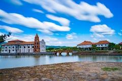 Landscape of a Spanish Colonial Village, las casas filipinas de acuzar,  Philippines. A very dramatic set-up of an old Spanish colonial village Royalty Free Stock Images