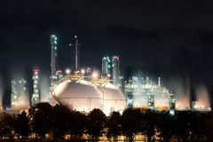 Landscape of sphere tank of storage gas and liquid chamical. Royalty Free Stock Photo