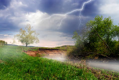 Landscape. Spring storm. Royalty Free Stock Photography