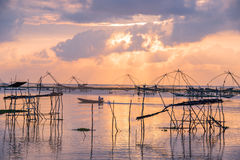 Landscape of square dip net at sunrise time Royalty Free Stock Photo