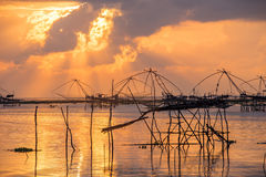Landscape of square dip net at sunrise time Royalty Free Stock Image