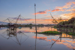 Landscape of square dip net at sunrise time Royalty Free Stock Photography