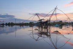 Landscape of square dip net at sunrise time Stock Photo
