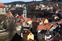 Landscape of St Jost Church in Cesky Krumlov. Czech republic Royalty Free Stock Images