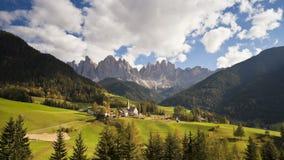 Landscape of st magdalena village and church geisler spitzen 3060m val stock video